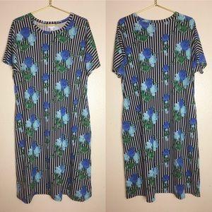 LulaRoe Marly Stripes And Blue Roses Dress